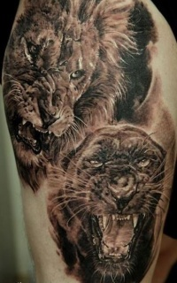 3d realistic lion and black panther tattoo
