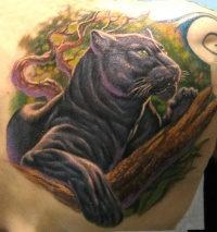 Colorful panther lying on a tree tattoo on back